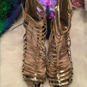 Steve Madden Cage Stilettos Glam Gold Size 10